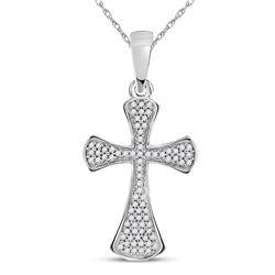 10kt White Gold Round Diamond Cross Faith Pendant 1/4 Cttw