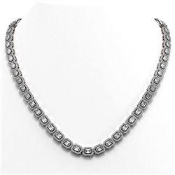 21.12 ctw Emerald Cut Diamond Micro Pave Necklace 18K White Gold