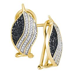 10kt Yellow Gold Round Black Color Enhanced Diamond Oval Stripe Cluster Earrings 1/2 Cttw