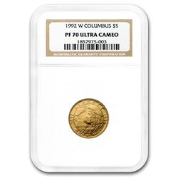 1992-W Gold $5 Commem Columbus Quincentenary PF-70 NGC