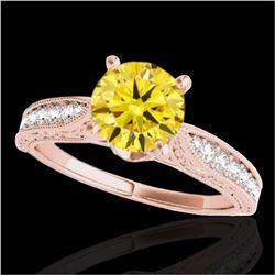 1.5 ctw Certified SI Intense Yellow Diamond Antique Ring 10k Rose Gold