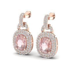 5 ctw Morganite & Black Micro VS/SI Diamond EARRINING 14k Rose Gold