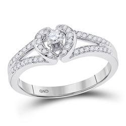 10kt White Gold Round Diamond Heart Promise Bridal Ring 1/4 Cttw