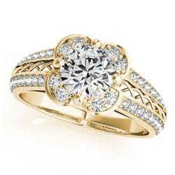 0.85 ctw Certified VS/SI Diamond Halo Ring 18k Yellow Gold