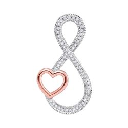 10kt White Gold Round Diamond Infinity Rose-tone Heart Pendant 1/6 Cttw