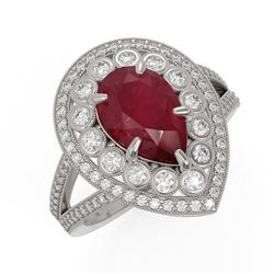 5.12 ctw Certified Ruby & Diamond Victorian Ring 14K White Gold