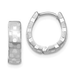14k White Gold Diamond Cut 4 mm Patterned Hinged Hoop Earrings