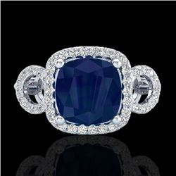 3.15 ctw Sapphire & Micro VS/SI Diamond Certified Ring 18k White Gold