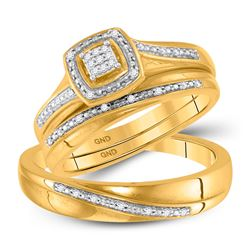10kt Yellow Gold His & Hers Round Diamond Square Cluster Matching Bridal Wedding Ring Band Set 1/12