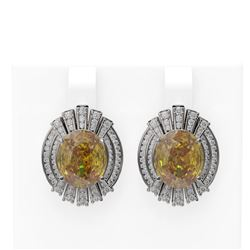 13.37 ctw Canary Citrine & Diamond Earrings 18K White Gold
