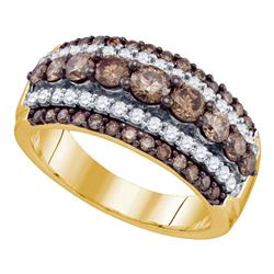 10kt Yellow Gold Round Brown Diamond Striped Cocktail Ring 1-1/2 Cttw