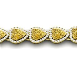 23 ctw Citrine & Micro Pave Bracelet Heart Halo 14k Yellow Gold