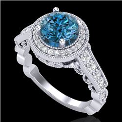 1.91 ctw Fancy Intense Blue Diamond Art Deco Ring 18k White Gold