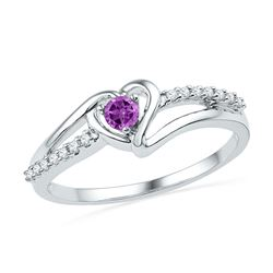 10kt White Gold Lab-Created Amethyst Heart Ring 1/5 Cttw