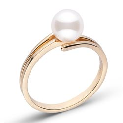 White Japanese Akoya Pearl Glance Solitaire Ring, 6.5-7.0mm