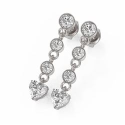 2 ctw Heart Diamond Designer Earrings 18K White Gold