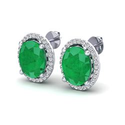 6 ctw Emerald & Micro Pave VS/SI Diamond Earrings 18k White Gold