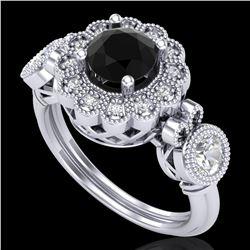 1.5 ctw Fancy Black Diamond Art Deco 3 Stone Ring 18k White Gold