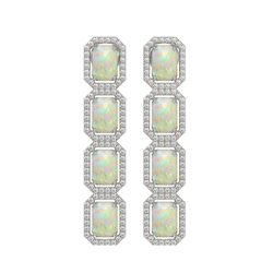 7.93 ctw Opal & Diamond Micro Pave Halo Earrings 10k White Gold