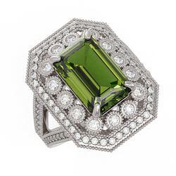 6.08 ctw Certified Tourmaline & Diamond Victorian Ring 14K White Gold