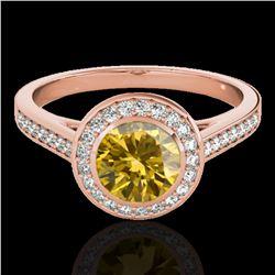 1.3 ctw Certified SI/I Fancy Intense Yellow Diamond Ring 10k Rose Gold