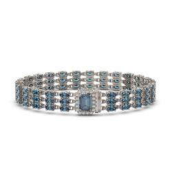 26.02 ctw London Topaz & Diamond Bracelet 14K White Gold