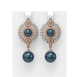 5 ctw Diamond & Pearl Earrings 18K Rose Gold