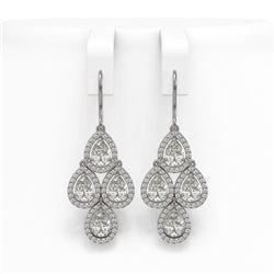 5.22 ctw Pear Cut Diamond Micro Pave Earrings 18K White Gold