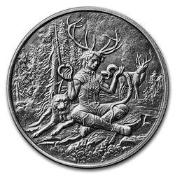 5 oz Silver Antique Round - Celtic Lore (Cernunnos)