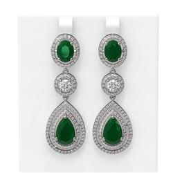 15.82 ctw Emerald & Diamond Earrings 18K White Gold