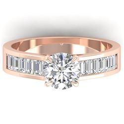 1.75 ctw Certified VS/SI Diamond Art Deco Ring 14k Rose Gold