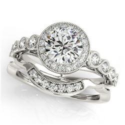 1.6 ctw Certified VS/SI Diamond 2pc Wedding Set Halo 14k White Gold