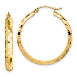14k Yellow Gold Diamond-cut Textured Hoop Earrings