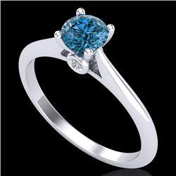 0.56 ctw Fancy Intense Blue Diamond Art Deco Ring 18k White Gold