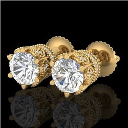 2.04 ctw VS/SI Diamond Solitaire Art Deco Stud Earrings 18k Yellow Gold