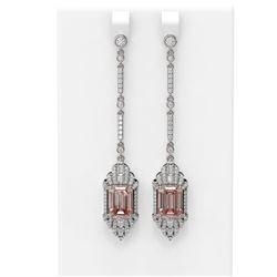 11.59 ctw Morganite & Diamond Earrings 18K White Gold
