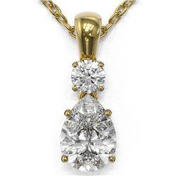 0.9 ctw Pear Cut Diamond Designer Necklace 18K Yellow Gold