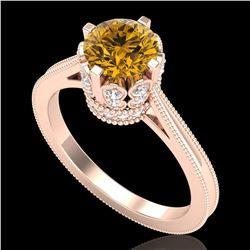 1.5 ctw Intense Fancy Yellow Diamond Art Deco Ring 18k Rose Gold
