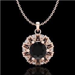 1.2 ctw Fancy Black Diamond Art Deco Micro Pave Necklace 18k Rose Gold