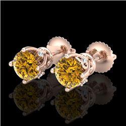 1.26 ctw Intense Fancy Yellow Diamond Art Deco Earrings 18k Rose Gold
