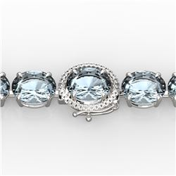 79 ctw Sky Blue Topaz & Micro Diamond Bracelet 14k White Gold