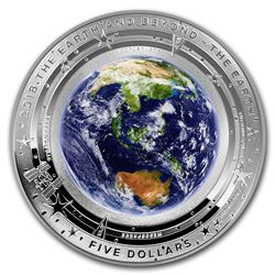 2018 Australia 1 oz Silver $5 Domed Earth and Beyond: The Earth