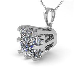 1 ctw Certified VS/SI Princess Diamond Necklace Vintage 14k White Gold