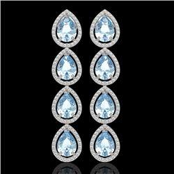 10.56 ctw Aquamarine & Diamond Micro Pave Halo Earrings 10k White Gold