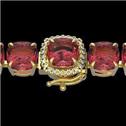 40 ctw Pink Tourmaline & Micro VS/SI Diamond Bracelet 14k Yellow Gold