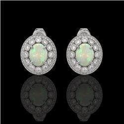 7.4 ctw Certified Opal & Diamond Victorian Earrings 14K White Gold