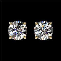 1.09 ctw Certified Quality Diamond Stud Earrings 10k Yellow Gold