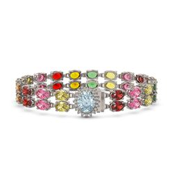 19.88 ctw Sapphire & Diamond Bracelet 14K White Gold