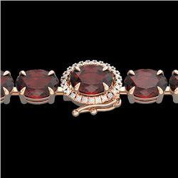 32 ctw Garnet & VS/SI Diamond Eternity Micro Bracelet 14k Rose Gold