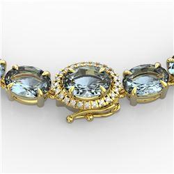90 ctw Sky Blue Topaz & VS/SI Diamond Micro Necklace 14k Yellow Gold